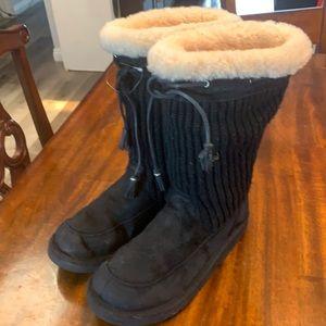 Ugg black  knit boots.